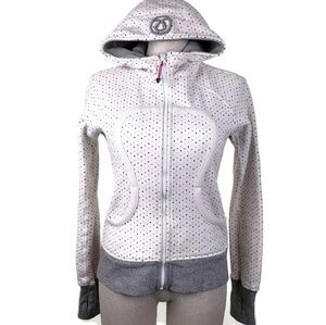 Lululemon Scuba Hoodie Sz 6 White Chevron Dot Gray